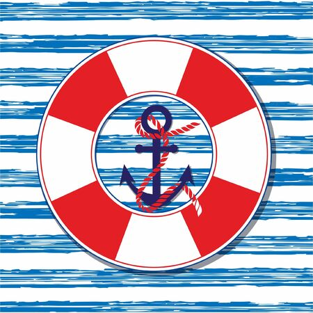 nautical template.illustration.marine illustration with an anchor and a lifeline Illustration