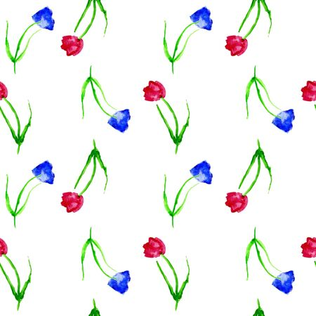 red tulip: Seamless background with tulips. Watercolor background with red and blue tulips on white background.Hand drawn red tulip flowers. Childrens drawing a red tulip on a white background.