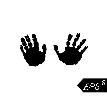 black kids hand print isolated on white background. Kids hand print. Isolated imprint of children s hands.