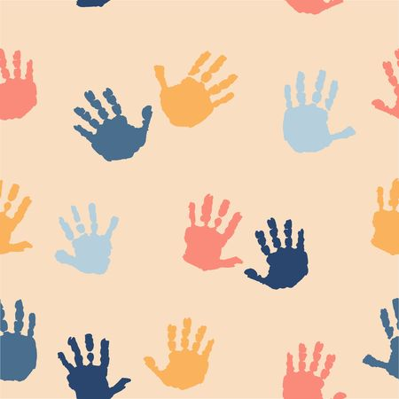 the children s: Watercolor colored kids hand print on beige background. Kids hand print. Isolated imprint of children s hands. Seamless pattern with children s hand print.