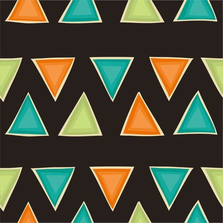 Seamless retro pattern with triangles a brown background. Geometric background in vintage colors.