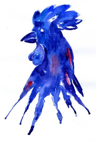 Bright watercolor rooster blue. Hand drawn illustration for your graphic design.