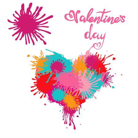 Vector hart. Ploeter verf druppels. Belettering Valentijnsdag Stock Illustratie