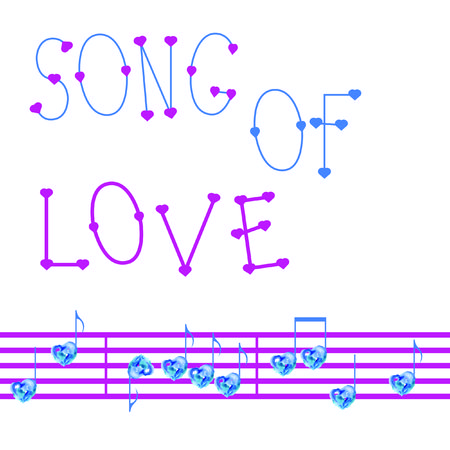 corazones azules: Romantic music background with notes and blue hearts