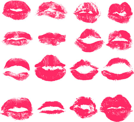 Vector set of lips. Imprint of lipstick with female lips. Isolated lips