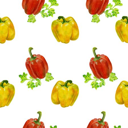 Seamless watercolor pattern with yellow and red peppers and parsley. background with bell peppers. Can be used for fabrics, textures, Wallpaper and paper.