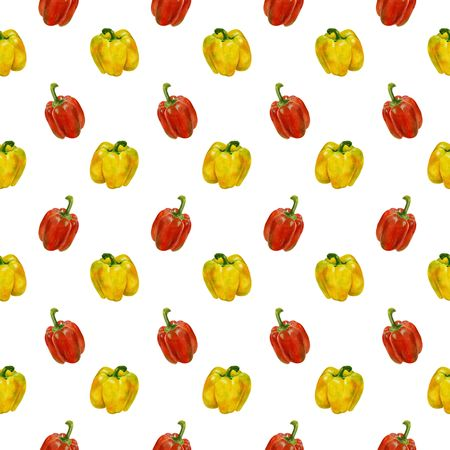 Hand drawn seamless pattern with fresh organic. watercolor rad and yellow bell peppers. Seamless background with bell peppers. Stock Photo