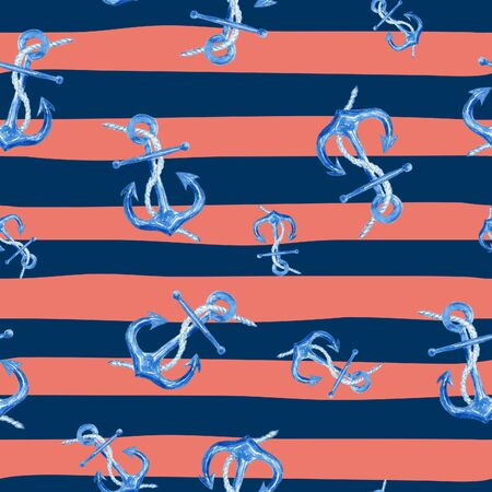 navy blue background: Watercolor hand drawn seamless pattern with anchors on red and blue marine striped background. Cute and simple nautical design.