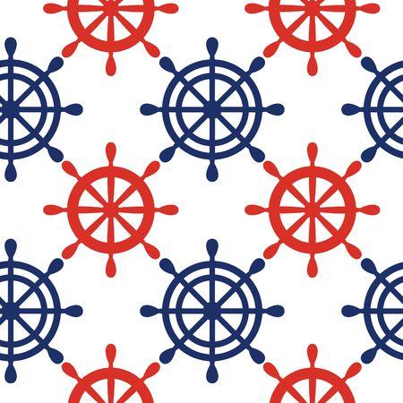 Zeevaart naadloze patroonachtergrond met blauwe en rode wielen. Zee thema