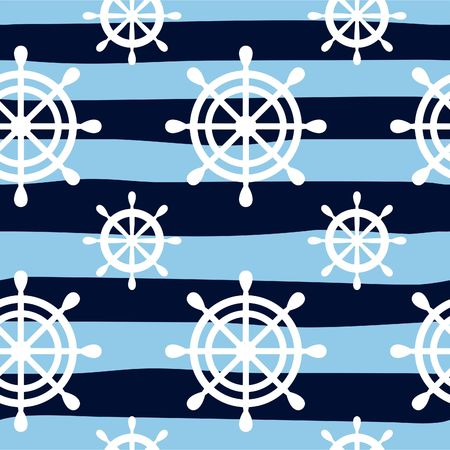 Nautical seamless pattern background with wheels. Sea theme. Vector illustration