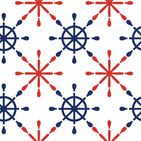 navy blue background: Nautical seamless pattern background with red and blue wheels . Sea theme.