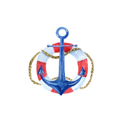 ship anchor: nautical vintage watercolor illustration of an anchor, lifebuoy Stock Photo