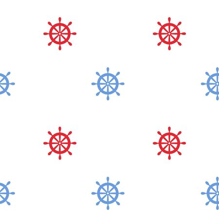 navy blue background: Nautical seamless pattern background with wheels. Sea theme.