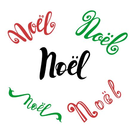 Vector set of hand drawn calligraphy Noel. Isolated lettering text for French Christmas greeting card. Reklamní fotografie