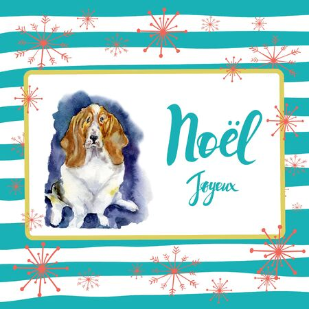 Portrait of Christmas dog. Merry Christmas and New Year poster. Basset hound with Merry Christmas card design with greetings in french language on a striped background with snowflakes. Stock Photo