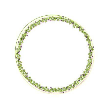 Circle frame. Botanical wreath of clover and flowers Stock Photo