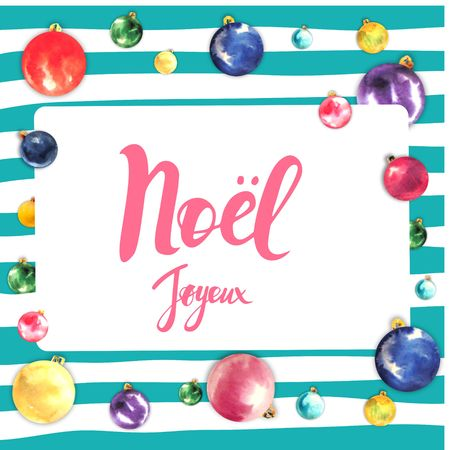 Merry christmas frame card design with greetings in french language merry christmas frame card design with greetings in french language joyeux noel phrase on striped m4hsunfo