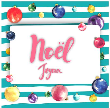 Merry Christmas frame card design with greetings in french language. Joyeux noel phrase on striped background with colorful christmas tree balloons