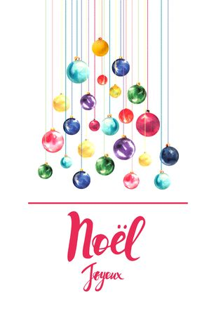 Christmas card with text merry Christmas on the French language Tree made of Christmas balls