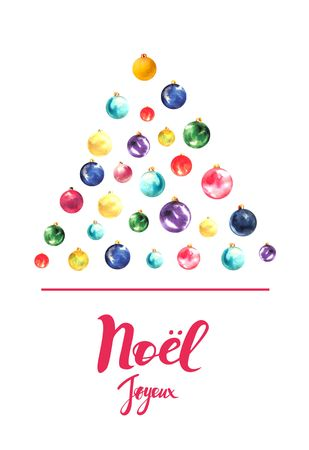christmas card with text on the french language merry christmas tree made of christmas balls