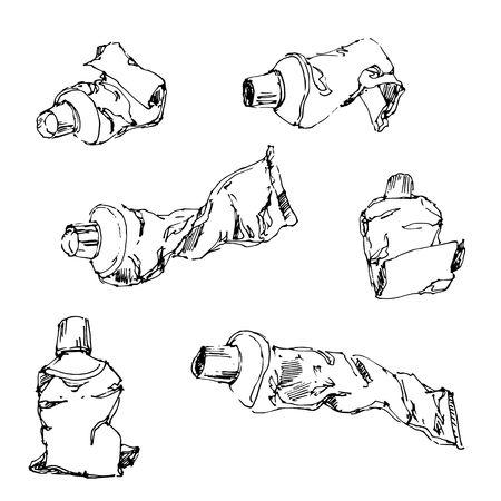 Illustration of tubes , drawing, engraving, ink, line art, vector