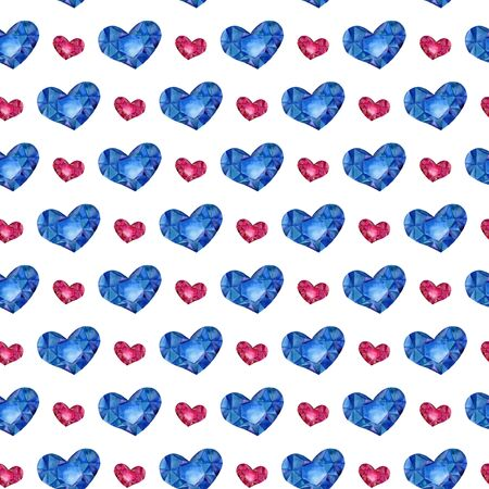 Seamless pattern with watercolor hearts. Polygon blue and red hearts.