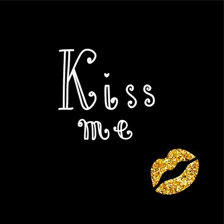 Kiss Me Typographic Art Print. Decorative illustration for Valentines day or wedding Иллюстрация