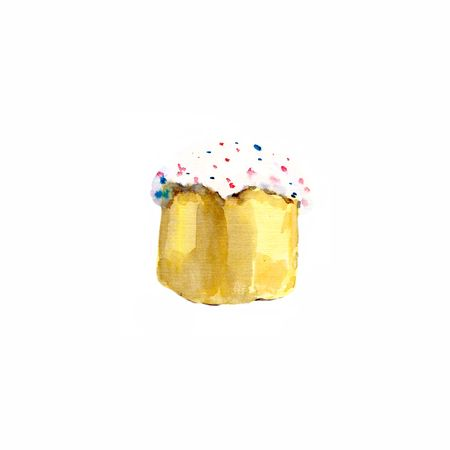 Easter cake hand-drawn watercolor.