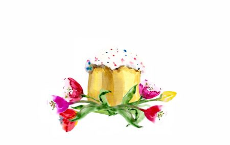 Watercolor easter kulich cake with tulip isolated on white background. 写真素材