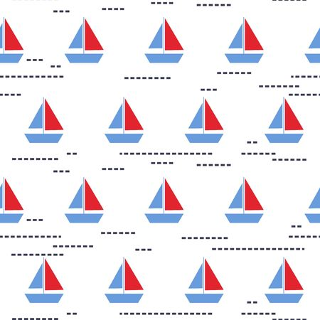 Seamless vector pattern with boats