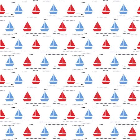 Seamless vector pattern with blue and red boats on the white background