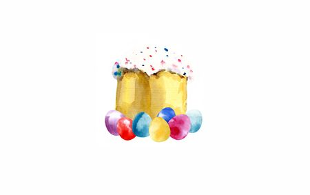 Watercolor easter kulich cake with eggs isolated on white background.