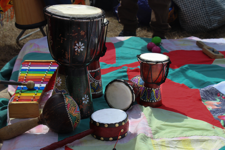 Wooden African djembe drums Фото со стока