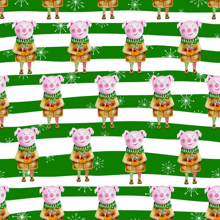 Seamless pattern with symbol of 2019. Watercolor pig on striped background with snowflakes