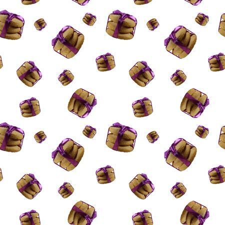 Seamless pattern with butter cookies isolated on white background. Homemade shortbread cookie Stock Photo