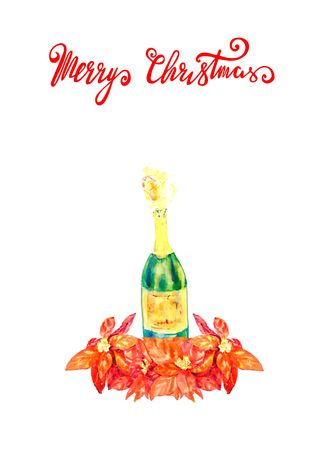 Watercolor bottle of champagne with flowers poinsettia Sketch. Happy Christmas Lettering.