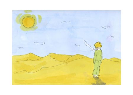 The little Prince in the desert. Illustration 写真素材