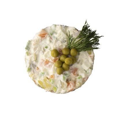 Traditional Russian salad Olivier. Closeup. Stock Photo