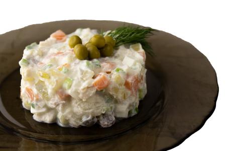 Traditional Russian salad Olivier. Closeup. Stok Fotoğraf