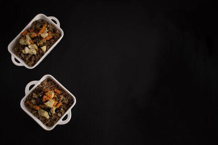 Buckwheat porridge on a dark background, top view. Russian national dish