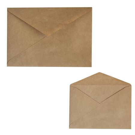 Set of brown envelopes made of recycled paper