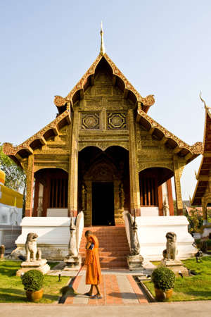 thailand tample with monk Stock Photo