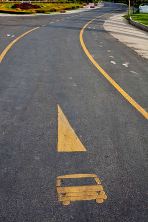 bus lane with yellow line  photo