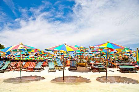 beach and umbrella chair on beach