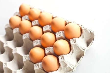 Egg pack on white background