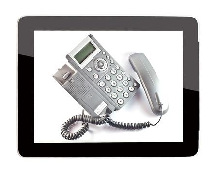 business telephone in tablet  photo