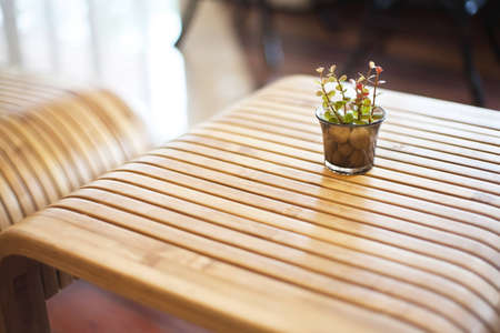 Bamboo table with vase Stock Photo - 16013484