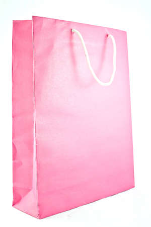 Pink paper bag on white isolate background Stock Photo - 16442511