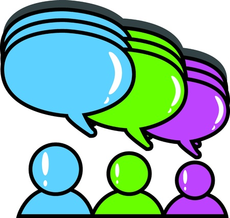 chat room: Three people with speech balloon  Illustration
