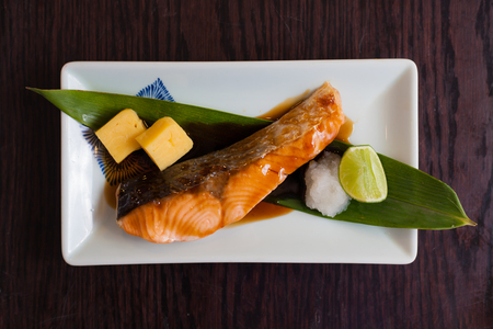 Salmon grilled japanese food with suace Stock Photo